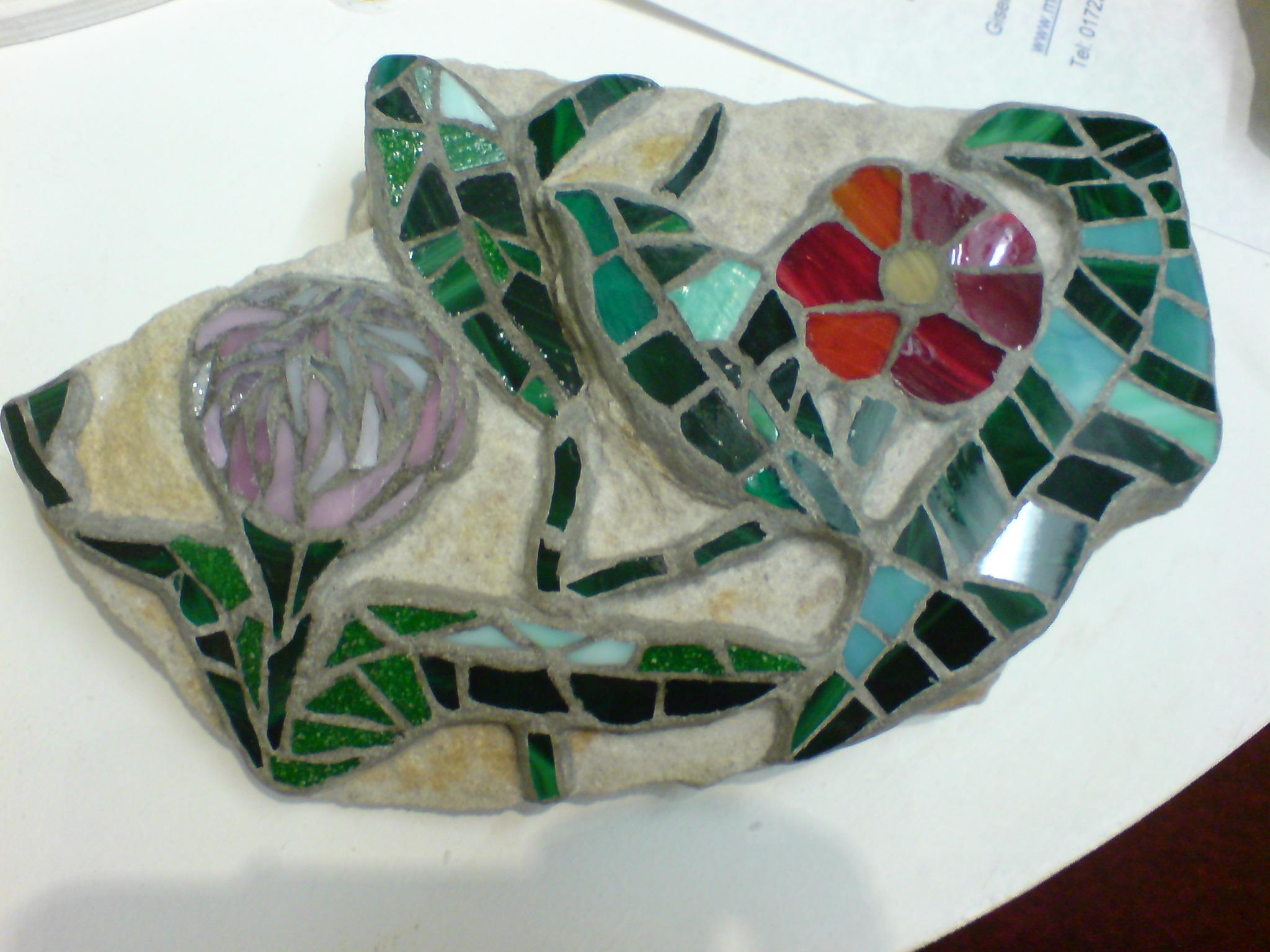Flowers on a Rock, Gisela Gibbon Mosaic Artist, Scarborough