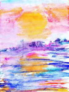 """Water colour for a DVD cover design, """"Secret Island"""" for howardgibbon.com ©Gisela Gibbon"""
