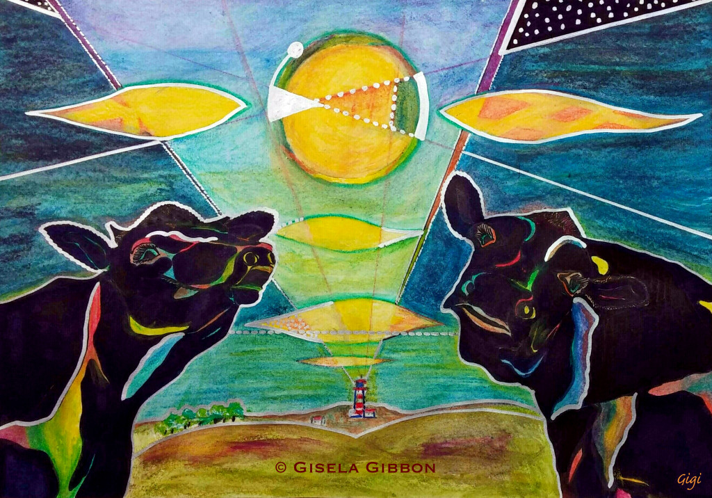 """know, a bit mad, right? """"Under the Moolight"""". Mixed media, 210x300mm. The white lines are really silver. Various sized prints are available, for those who love it for the fun as I do. © Gisela Gibbon."""