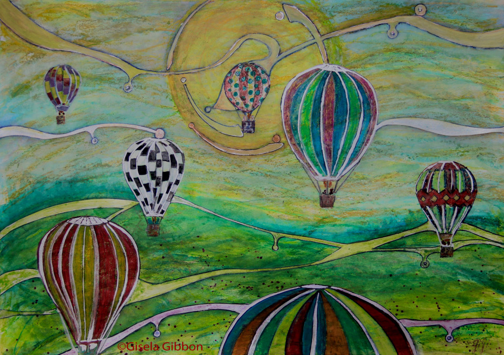 Let's Fly Away, mixed media on paper, 420 x 300mm (A3) painted especially for the Scarborough Arts Hospital exhibition, to give passing patients a moment of escape. © Gisela Gibbon
